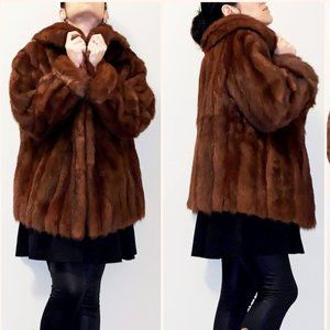 Dark brown Mink fur coat Size L